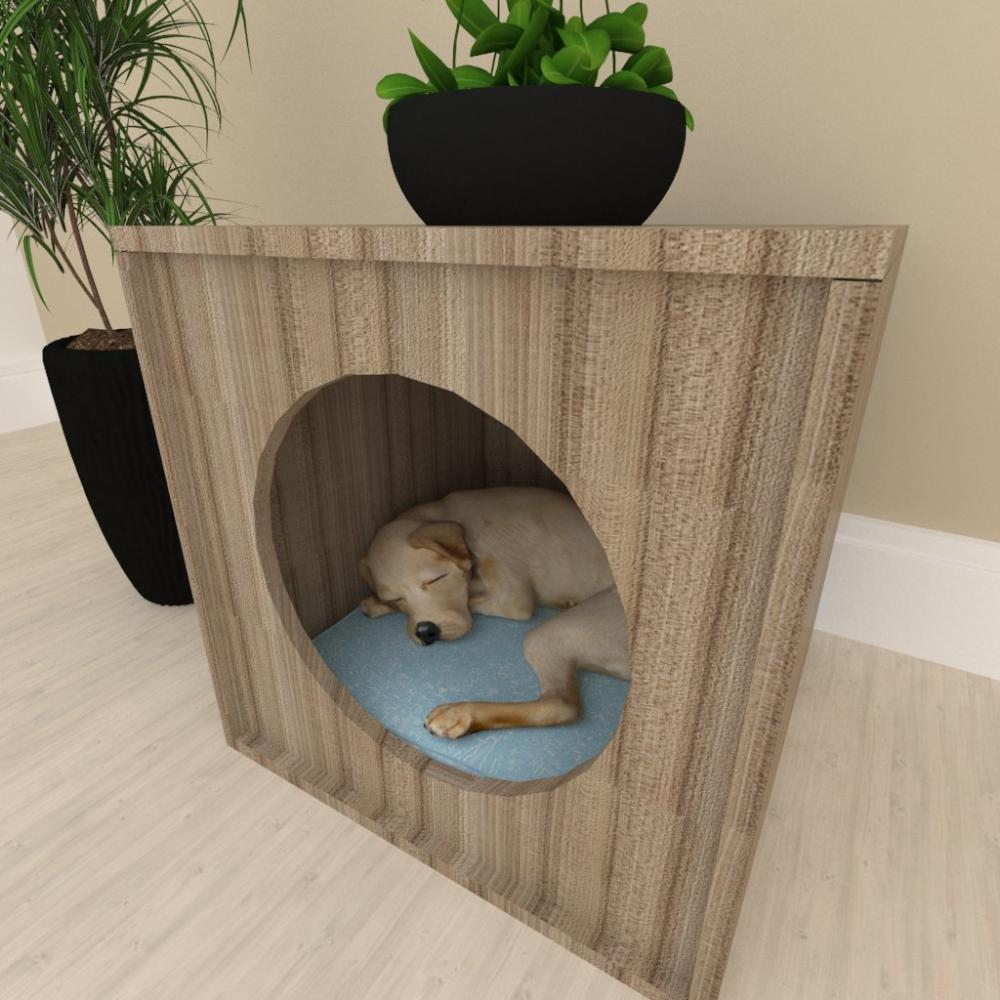 Mesa de cabeceira caminha cachorro cão mdf Amadeirado escuro
