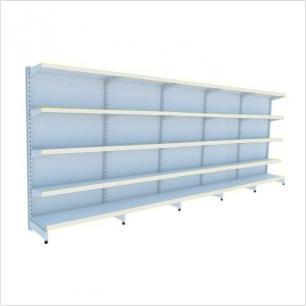 kit com 5 gondola de parede 1 inicial 4 cont 1,70x92 40/30 flex 40 amapa, porta etiquetas branco