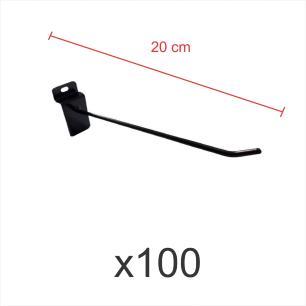 Kit com 100 ganchos 4mm preto de 20 cm para painel canaletado
