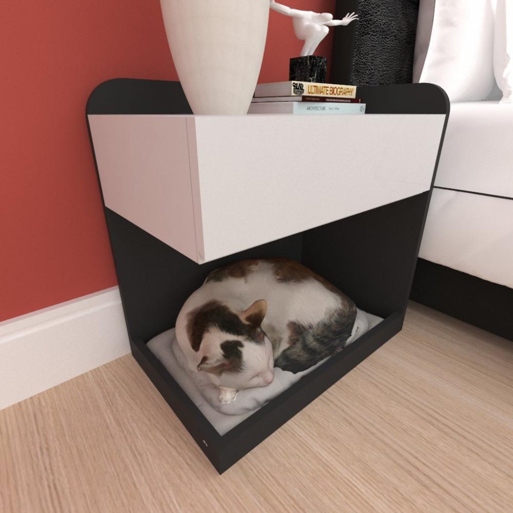 Casinha caminha criado mudo gato gaveta mdf cor preto cinza