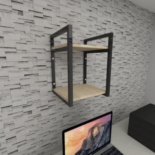 Prateleira industrial para escritório aço cor preto mdf 30 cm cor amadeirado claro modelo ind24aces