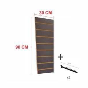 Kit Painel canaletado preto alt 90 cm comp 30 cm mais 5 ganchos rt 40 cm para roupas