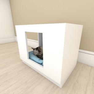 Mesa de cabeceira caminha bercinho para Gato em mdf Branco