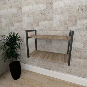 Mini estante industrial para sala aço cor preto mdf 30cm cor amadeirado escuro modelo ind01aeeps