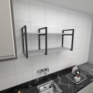 Prateleira industrial para cozinha aço cor preto prateleiras 30cm cor cinza modelo ind19cc