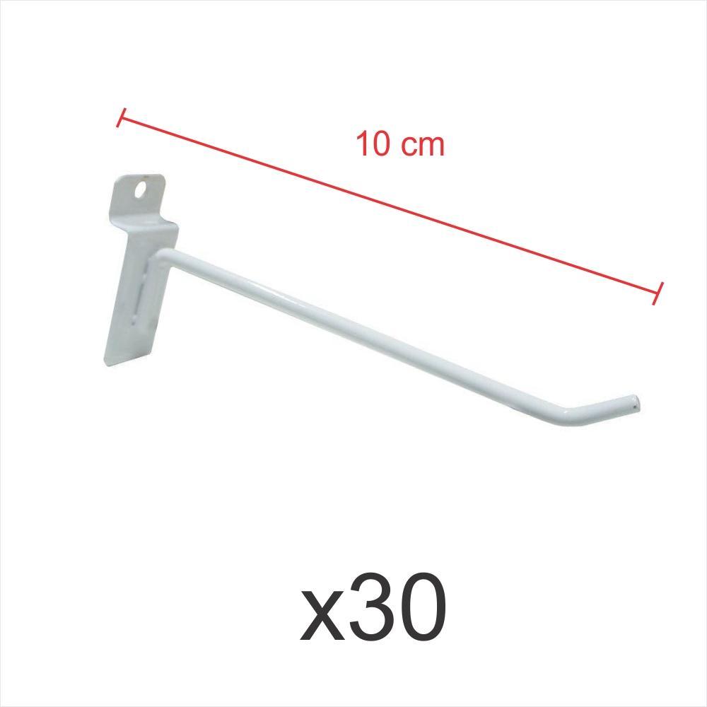 Kit com 30 ganchos 4mm branco de 10 cm para painel canaletado