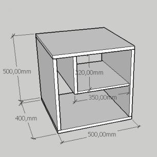 Mesa de centro moderna com nichos em mdf cinza