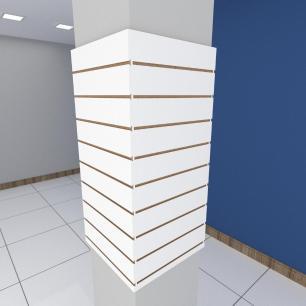 Kit 4 Painel canaletado para pilar branco 2 peças 54(L)x120(A)cm + 2 peças 50(L)x120(A)cm