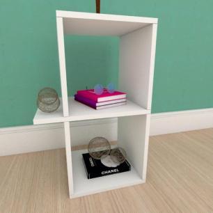 Kit com 2 Mesa de cabeceira minimalista em mdf branco