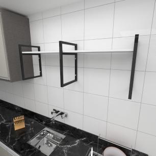 Prateleira industrial para cozinha aço cor preto prateleiras 30 cm cor branca modelo ind06bc