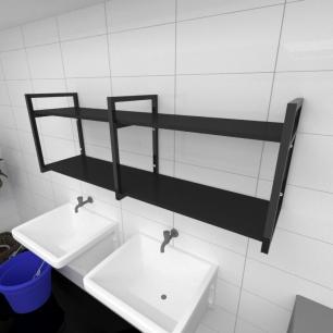 Prateleira industrial para lavanderia aço cor preto prateleiras 30 cm cor preto modelo ind04plav