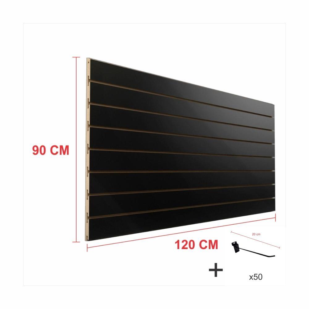 Expositor canaletado preto alt 90 cm comp 120 cm mais 50 ganchos 20 cm