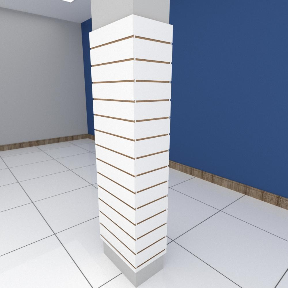Kit 4 Painel canaletado para pilar branco 2 peças 54(L)x180(A)cm + 2 peças 30(L)x180(A)cm