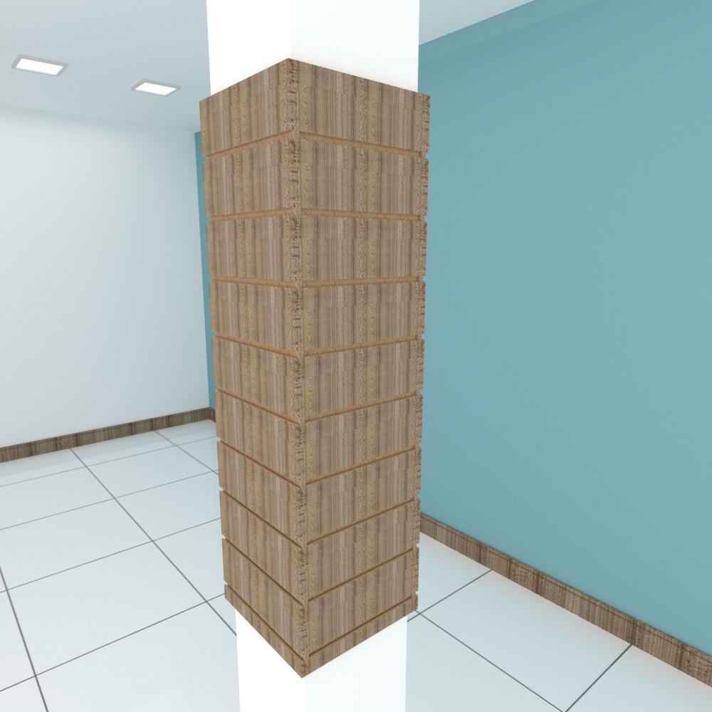 Kit 4 Painel canaletado para pilar amadeirado escuro 2 peças 34(L)x120(A)cm + 2 peças 30(L)x120(A)cm