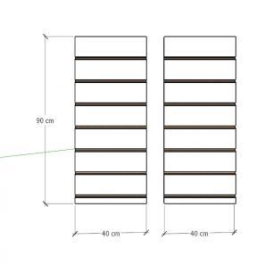 Kit 2 Painel canaletado para pilar preto 2 peças 40(L)x90(A) cm