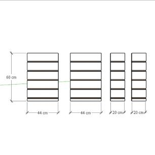 Kit 4 Painel canaletado para pilar cinza cristal 2 peças 44(L)x60(A)cm + 2 peças 20(L)x60(A)cm