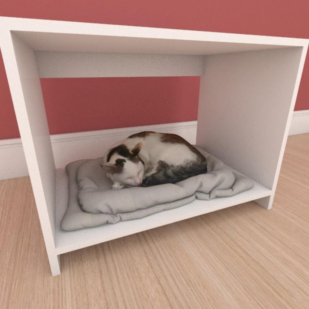 Caminha compacta pequeno gato em mdf branco
