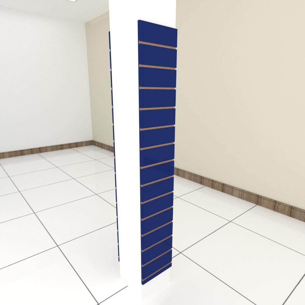 Kit 2 Painel canaletado para pilar azul escuro 2 peças 30(L)x180(A)cm