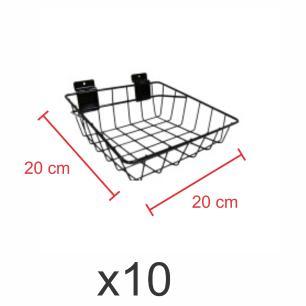 Pacote com 10 Cestos para painel canaletado 20x20 cm preto