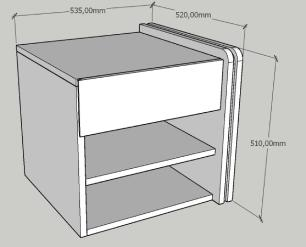 Mesa de cabeceira moderna branco com preto