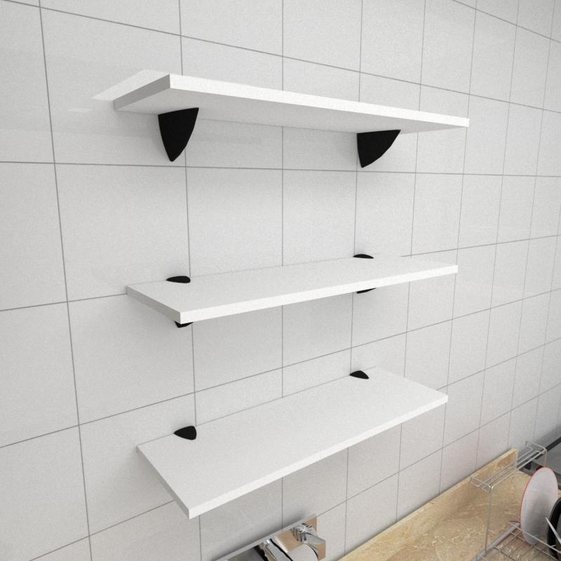 Kit 3 prateleiras para cozinha em MDF suporte tucano branco 60x20cm modelo pratcb12