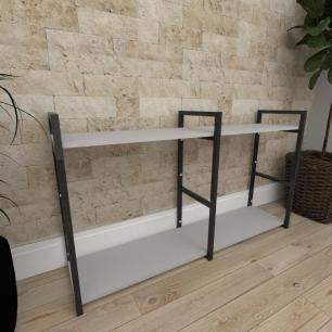 Mini estante industrial para sala aço cor preto prateleiras 30cm cor cinza modelo ind13ceps