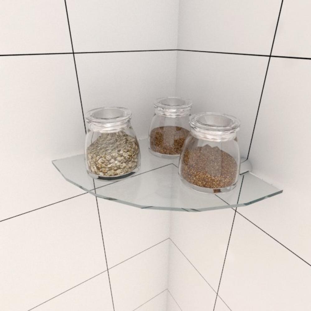 Kit com uma Prateleira para cozinha de canto 20 cm vidro temperado
