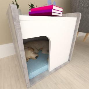 Casinha criado mudo para cachorro mdf cor Rustico com branco