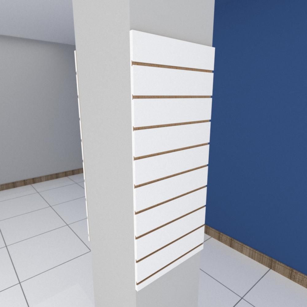 Kit 2 Painel canaletado para pilar branco 2 peças 50(L)x120(A)cm