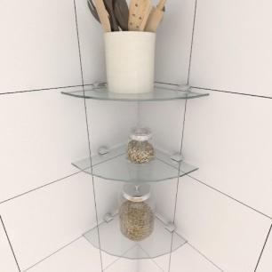 Kit com tres Prateleira para cozinha de canto 20 cm vidro temperado