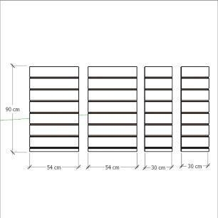 Kit 4 Painel canaletado para pilar vermelho escuro 2 peças 54(L)x90(A)cm + 2 peças 30(L)x90(A)cm