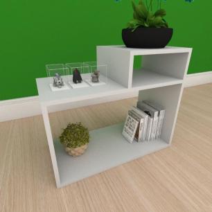 Mesa Lateral simples com nicho em mdf cinza