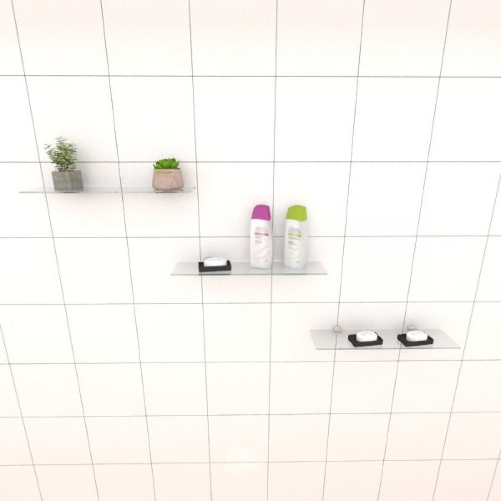 Kit com tres Prateleira para banheiro 40 cm vidro temperado