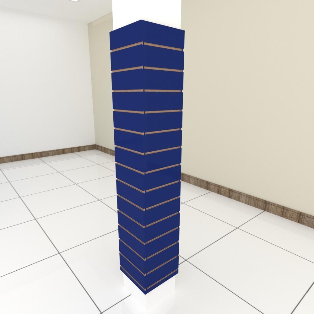 Kit 4 Painel canaletado para pilar azul escuro 2 peças 34(L)x180(A)cm + 2 peças 30(L)x180(A)cm