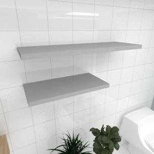 Kit 2 prateleiras banheiro em MDF sup. Inivisivel cinza 1 60x30cm 1 90x30cm modelo pratbnc32