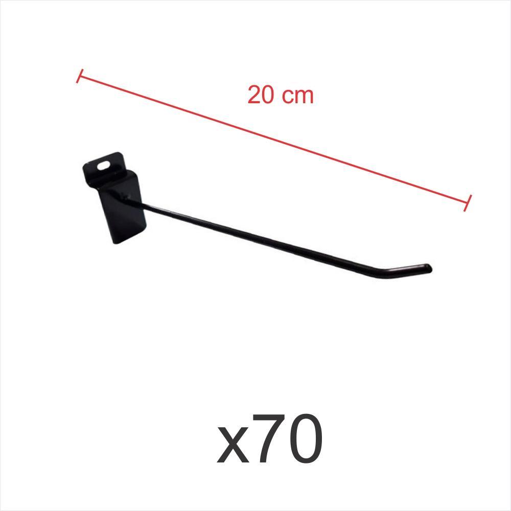 kit para expositor com 70 ganchos 4mm preto de 20 cm para painel canaletado