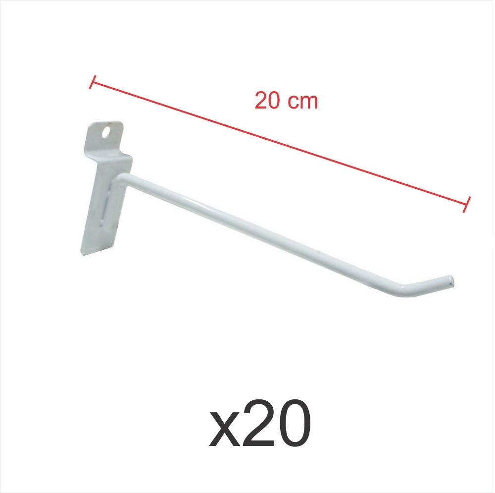 kit para expositor com 20 ganchos 4mm branco de 20 cm para painel canaletado