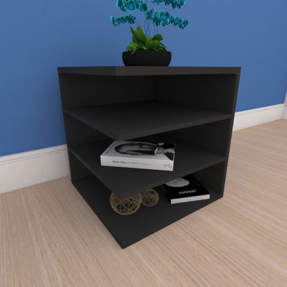 Mesa de cabeceira simples com prateleiras em mdf preto