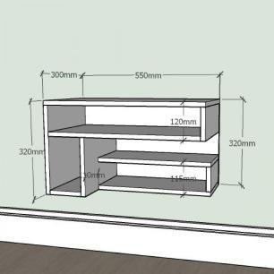Mesa de Cabeceira slim com nichos prateleiras em mdf Preto