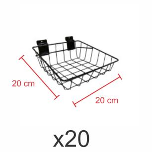 kit para expositor com 20 Cestos para painel canaletado 20x20 cm preto