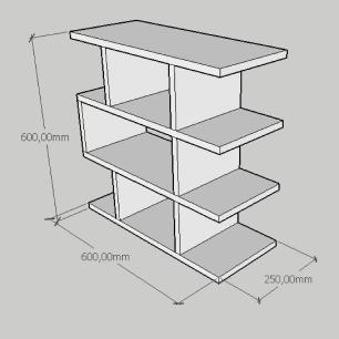 Mesa Lateral compacta tripla em com prateleira mdf cinza