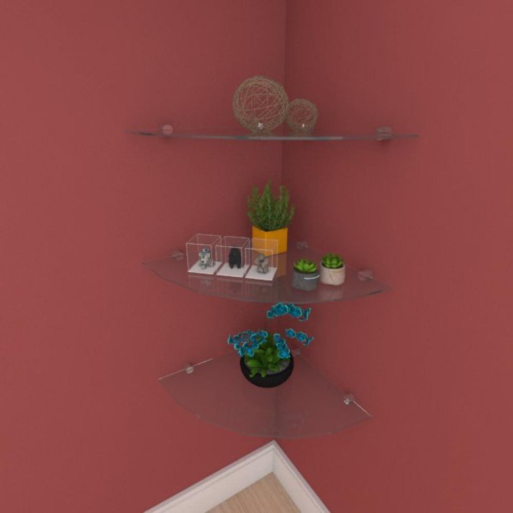 Kit com tres Prateleira para sala de canto 40 cm vidro temperado