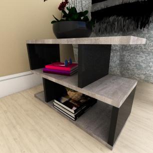Mini estante para escritório moderna rustico com preto