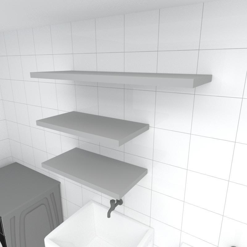 Kit 3 prateleiras lavanderia em MDF sup. Inivisivel cinza 2 60x30cm 1 90x30cm modelo pratlvc33