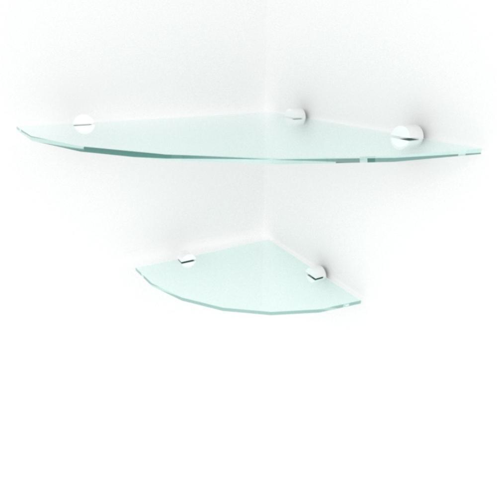 kit com 2 Prateleira para canto de vidro temperado para sala 1 de 30 cm e 1 de 20 cm