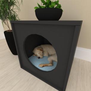 Mesa de cabeceira Casinha caminha para cachorro cão mdf preto