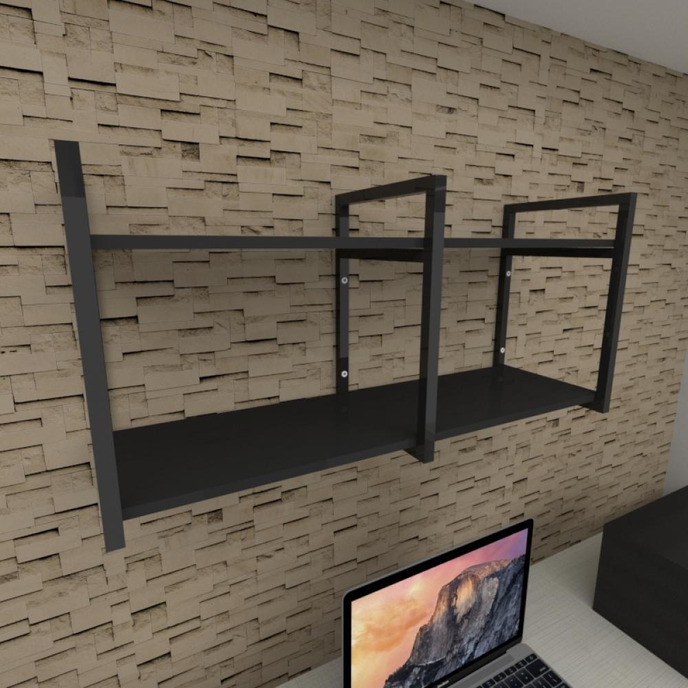 Prateleira industrial para escritório aço cor preto prateleiras 30cm cor preto modelo ind22pes