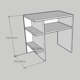 Kit com 2 Mesa de cabeceira com prateleiras laterais em mdf cinza