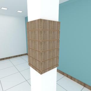 Kit 4 Painel canaletado para pilar amadeirado escuro 2 peças 34(L)x60(A)cm + 2 peças 30(L)x60(A)cm
