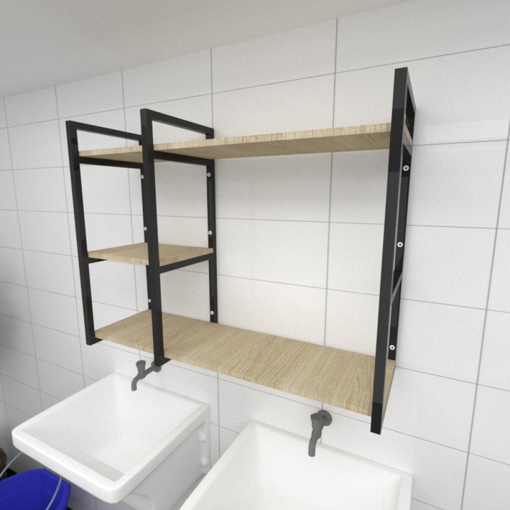 Prateleira industrial para lavanderia aço cor preto mdf 30 cm cor amadeirado claro modelo ind16aclav